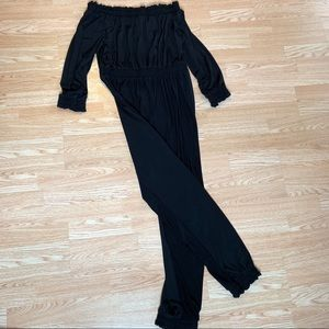 Ashley Stewart Pants Off The Shoulder Black Jumpsuit 12 Poshmark